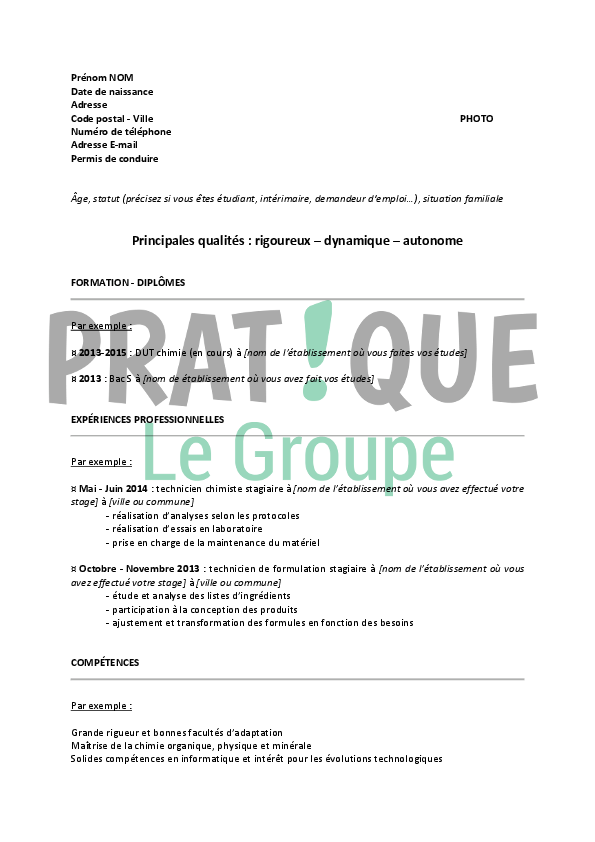 exemple de cv stage dut chimie