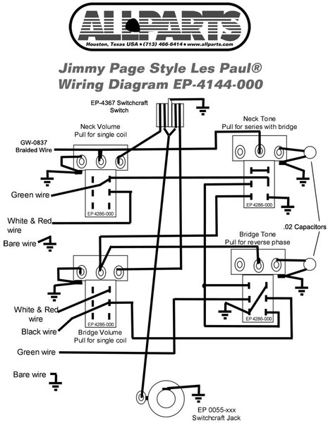 wiring diagram for les paul style guitar