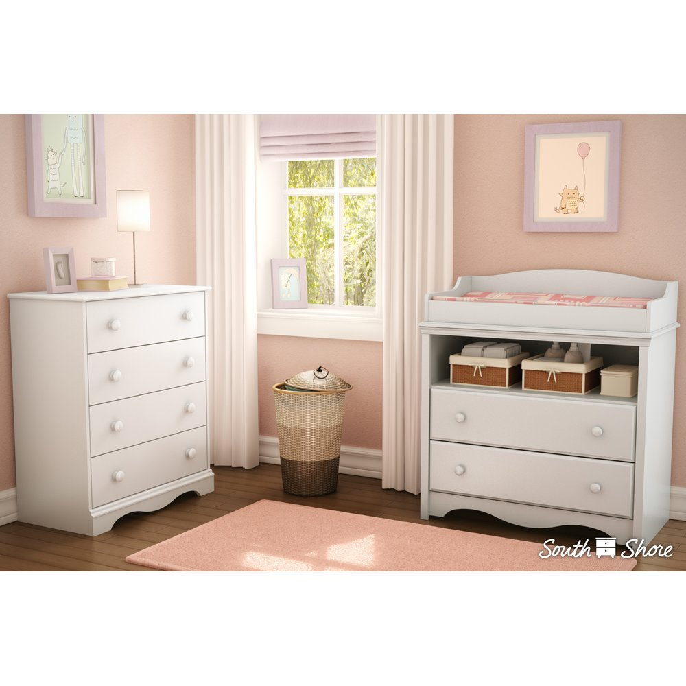 Changing Table Chest Of Drawers White Changing Table And 4 Drawer Chest Set Angel