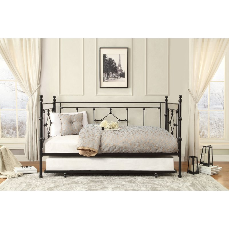 Black Classic Contemporary Metal Daybed with Trundle - Alexis RC