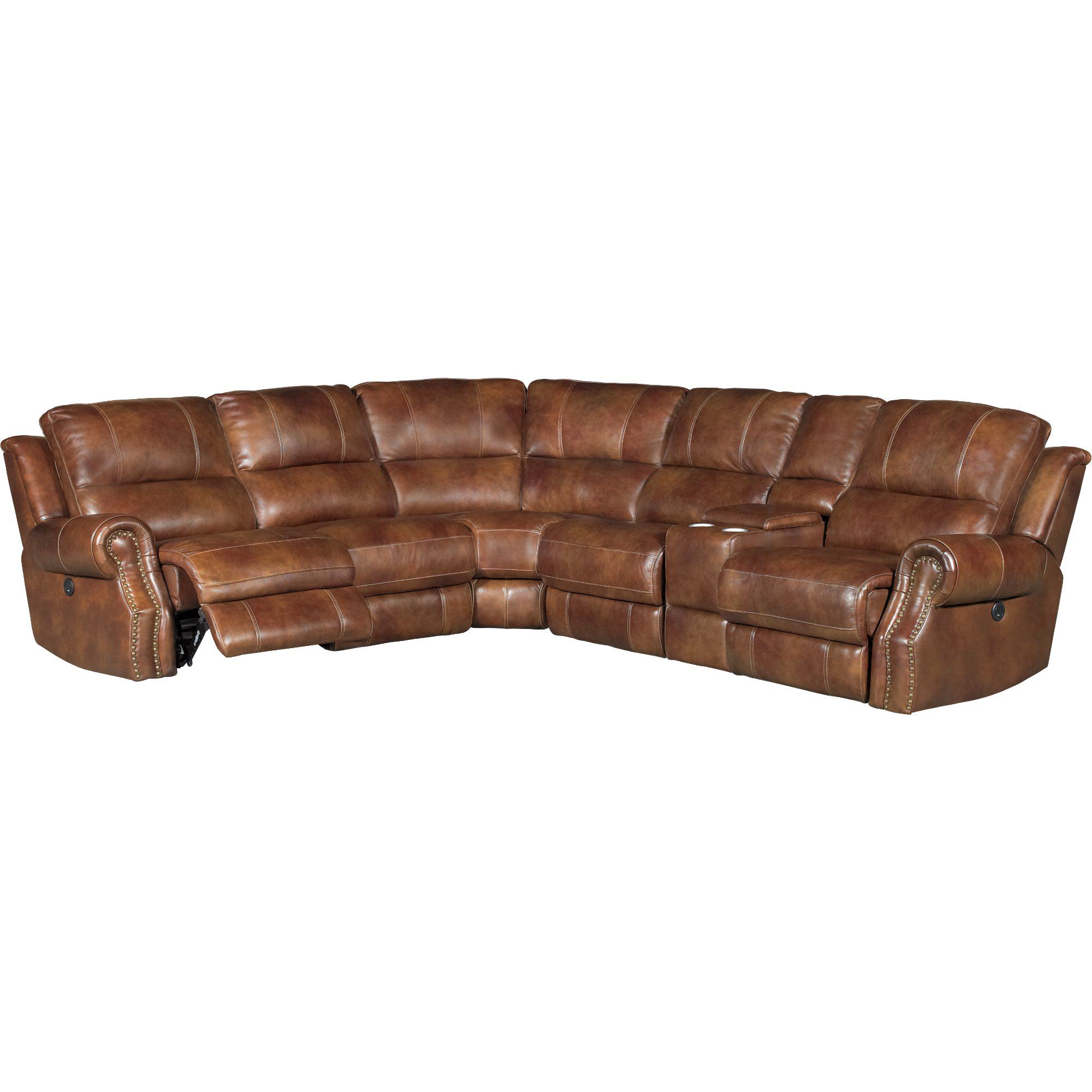 Leather Sectional Sofa Recliner Chestnut Brown 6 Piece Power Reclining Sectional Sofa Nailhead