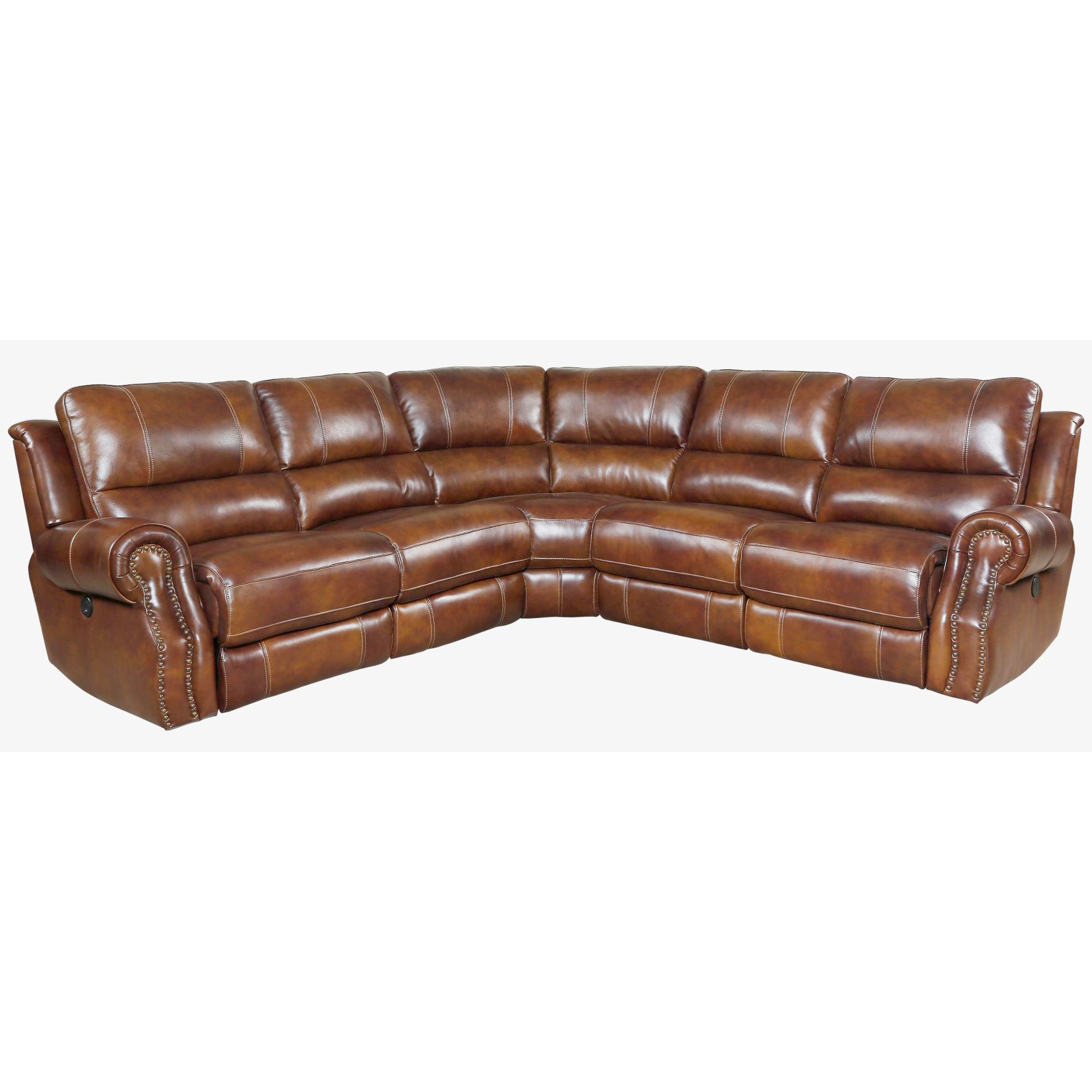 Leather Sectional Sofa Recliner Chestnut Brown 5 Piece Power Reclining Sectional Sofa Nailhead
