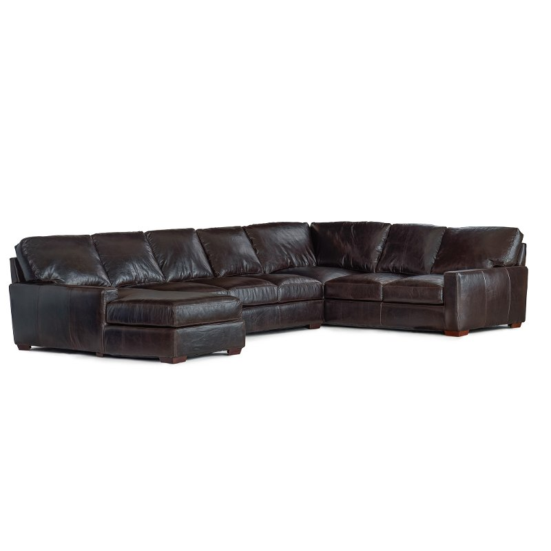 Brown Contemporary 4 Piece Leather Sectional Sofa