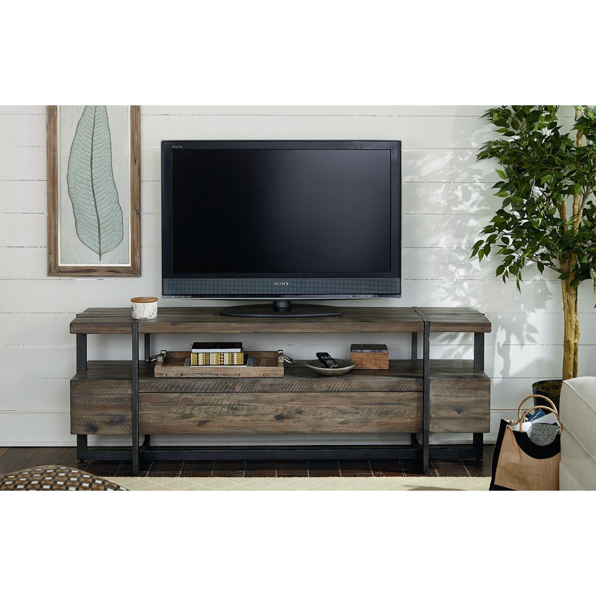 Modern Tv 66 Inch Rustic Brown Tv Stand Modern Timber