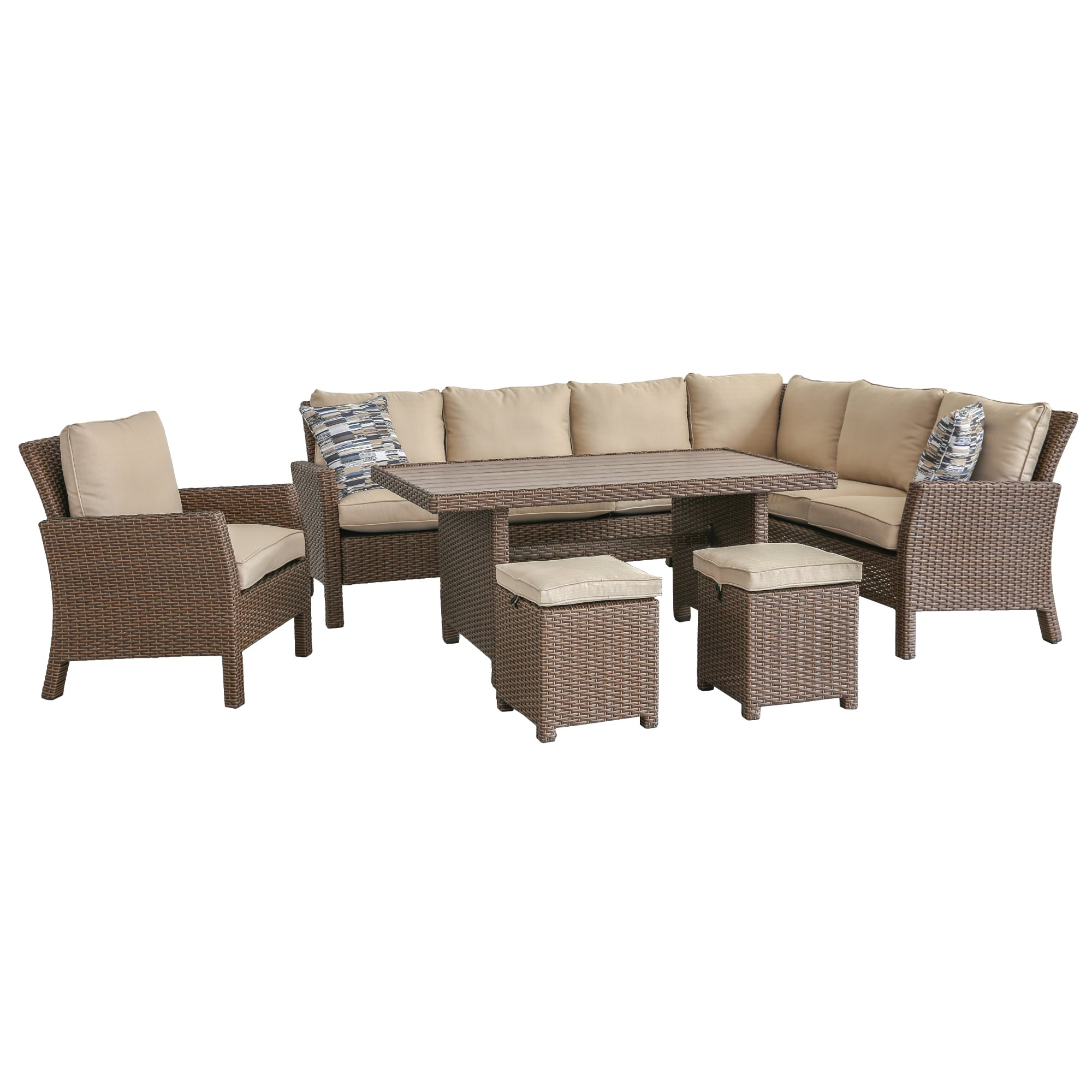 Owen 5 Piece Rattan Sofa Set With Cushions 6 Piece Outdoor Patio Furniture Set Arcadia