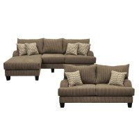 Dark Gray 2 Piece Living Room Set with Sofa-Chaise ...