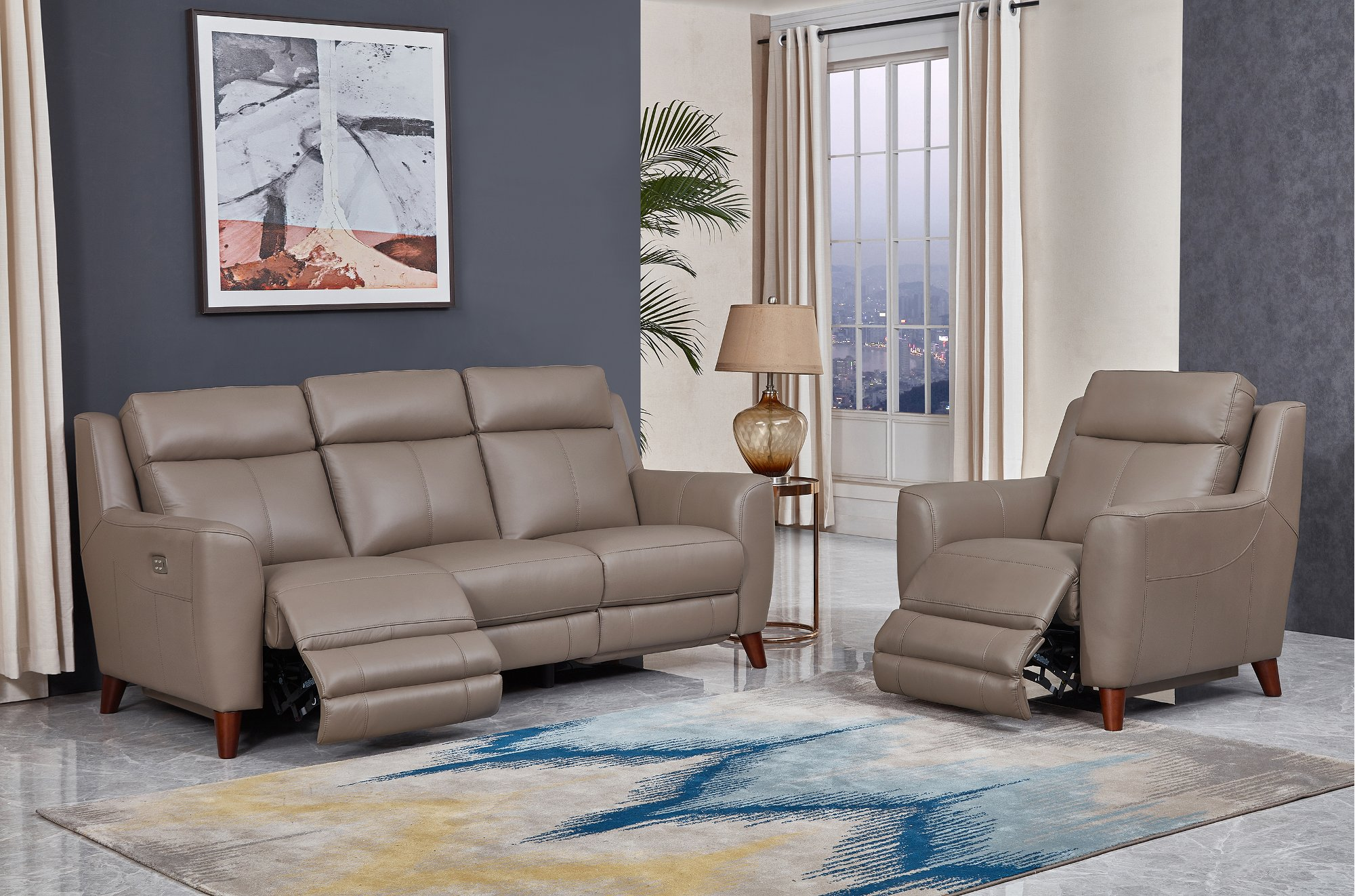 Must Have Taupe Leather Power Reclining Sofa And Loveseat Set Fresno From Amax Leather Inc Accuweather Shop
