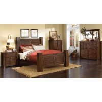 Dark Pine 6 Piece Queen Bedroom Set - Trestlewood | RC ...