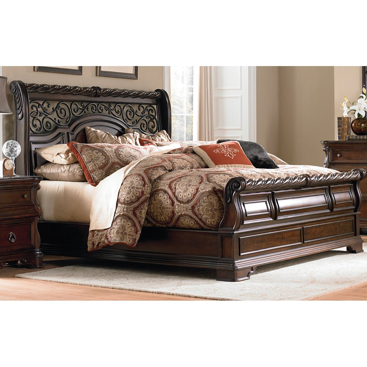 Sleigh Bed Headboard Traditional Brown King Size Sleigh Bed Arbor Place