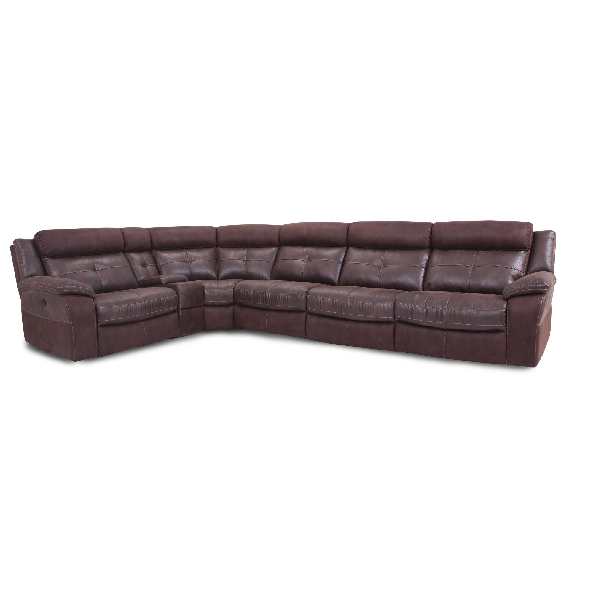 Microfiber Sectional Sofa Brown 6 Piece 3x Manual Reclining Sectional Sofa Denver
