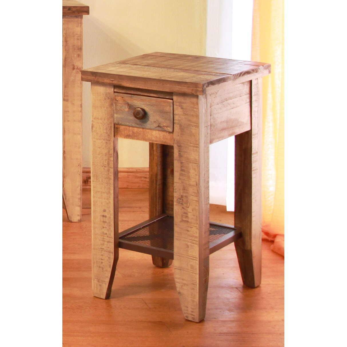 Rustic Wood End Table Pine Two Tone Rustic End Table Tanmeron