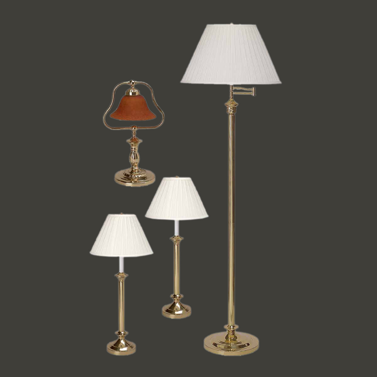 Bright Colored Table Lamps Table Floor Lamp Bright Brass Traditional 4 Pc Lamp Set