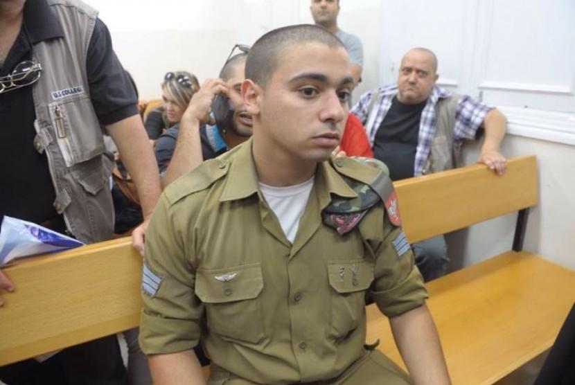 Tentara Israel Elor Azaria yang menembak mati warga Palestina, Abdel Fattah al Sharif di kepala meski sudah tidak berdaya.