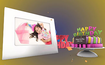 Happy Birthday Greeting 3d Video Card With Horizontal