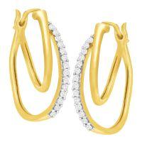 1/4 ct Diamond Double Hoop Earrings in 10K Gold | eBay