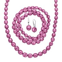 Honora Fuchsia Ringed Pearl Earring, Bracelets & Necklace ...