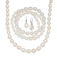 White Freshwater Pearl Earring, Bracelets & Necklace Set ...