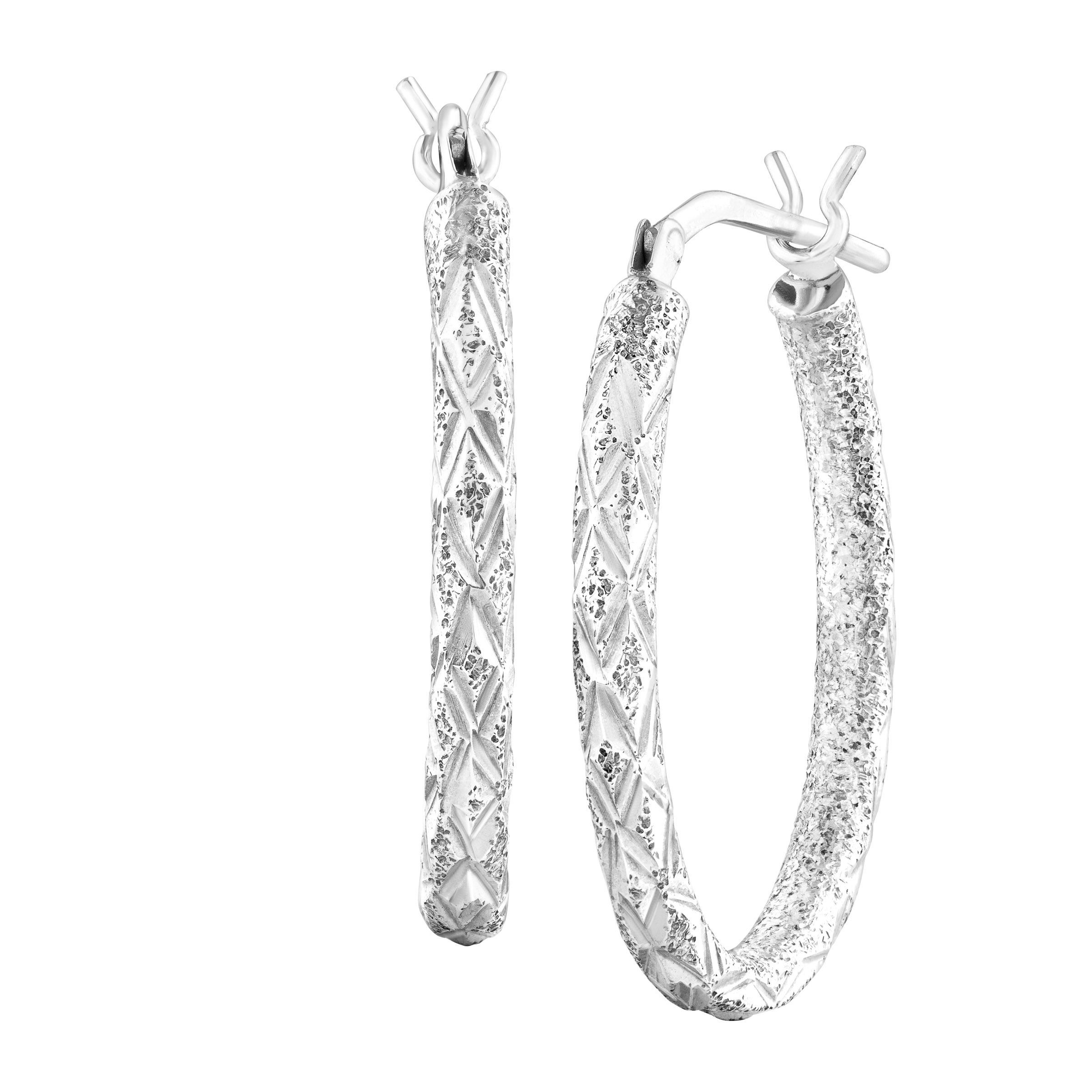 Etched Oval Tube Hoop Earrings in Sterling Silver