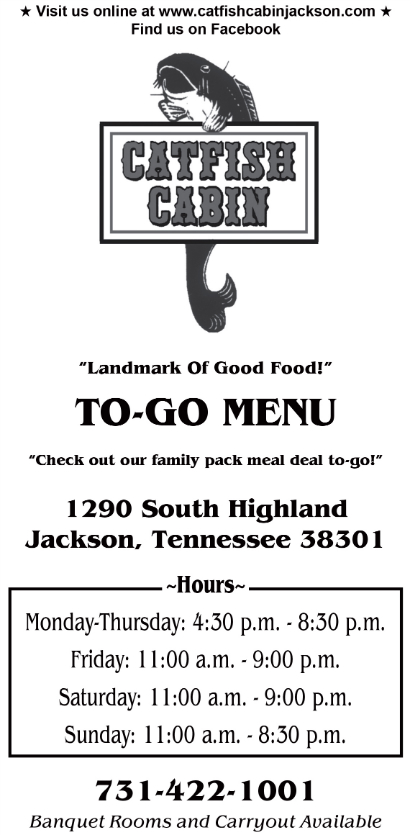 Lunch  Dinner Menu at Catfish Cabin Restaurant in Jackson TN