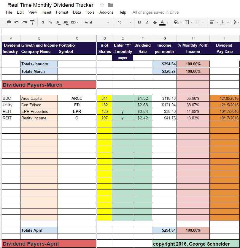 Real Time Monthly Dividend And Income Tracker - George Schneider