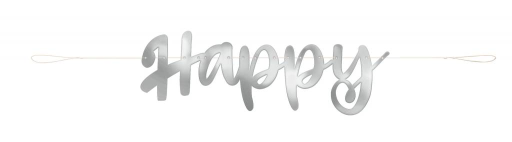Happy Anniversary Script Banner Silver - It\u0027s My Party