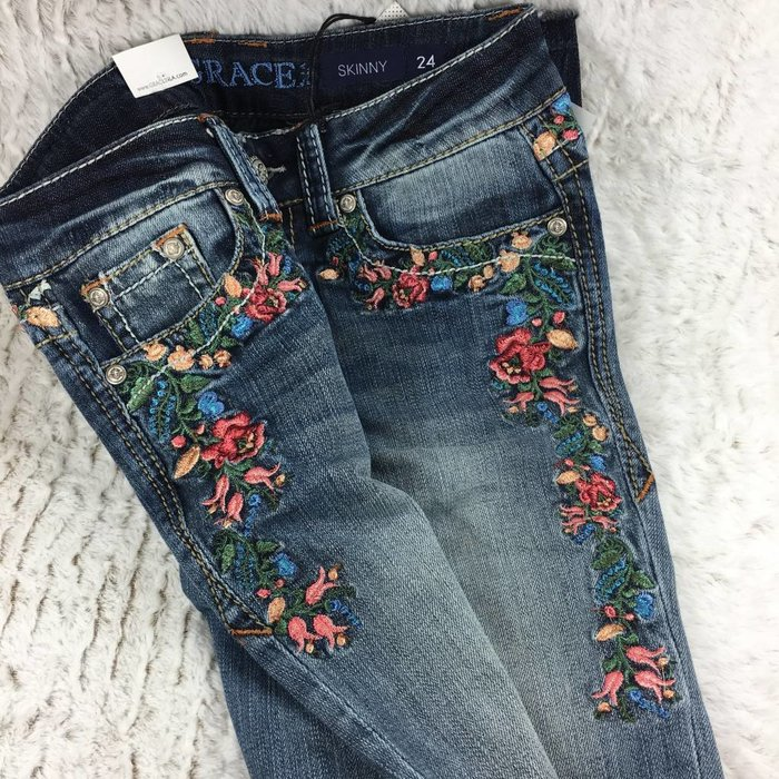 Baby Bath Grace In La Skinny Rose Garden Embroidered Jeans