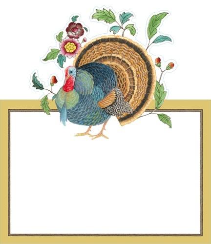 Caspari Place Cards Tent Style 8pk 87922P Thanksgiving Turkey - Digs