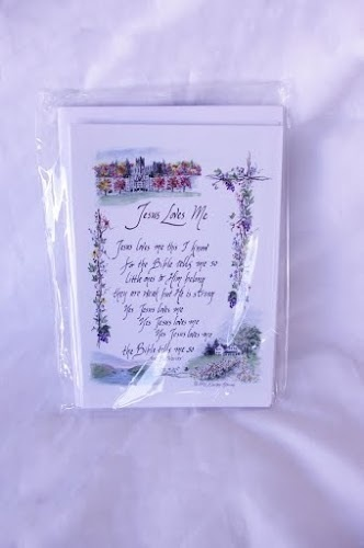 Jesus Loves Me\ - purple note cards