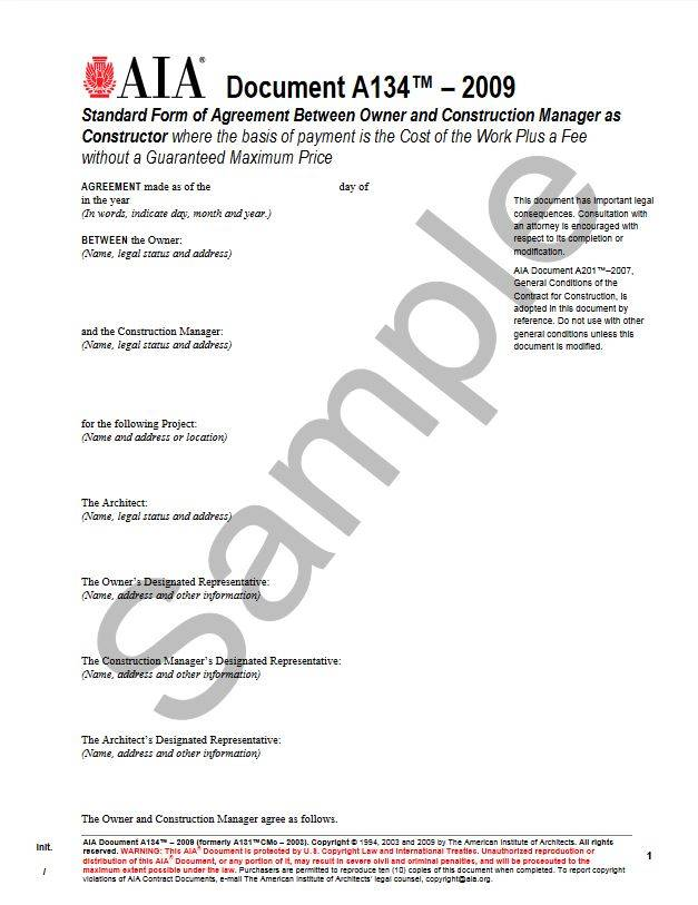 A134\u20132009 Standard Form of Agreement Between Owner and Construction