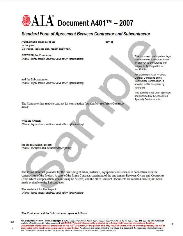 A401\u20132007, Standard Form of Agreement Between Contractor and - subcontractor agreement
