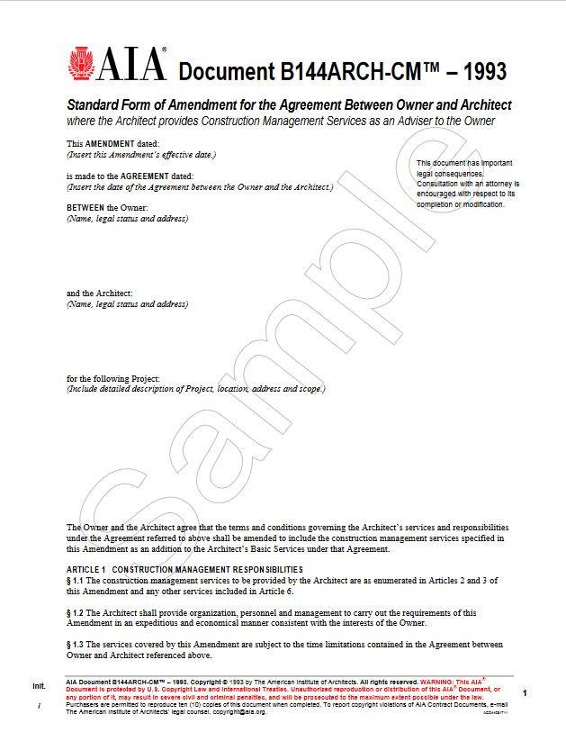 B144ARCH-CM\u20131993, Standard Form of Amendment to the Agreement