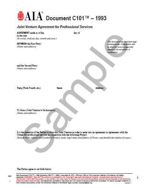C101-1993 Joint Venture Agreement For Professional Srevices - AIA - joint venture agreement
