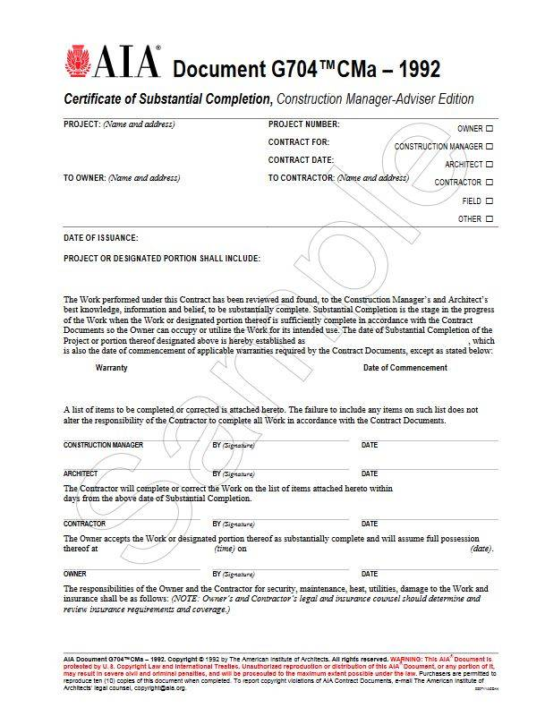 G704CMa\u20131992, Certificate of Substantial Completion, Construction