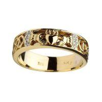 RINGS GENTS CLADDAGH & CELTIC KNOT DIAMOND SET WEDDING ...