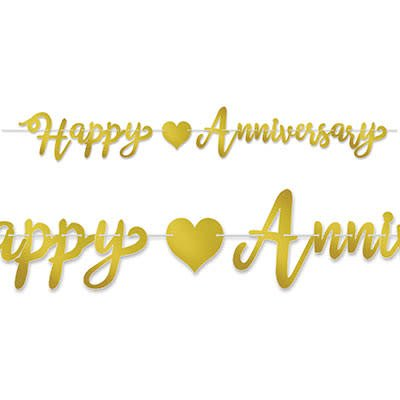 Gold Happy Anniversary Banner - Amys Party Store