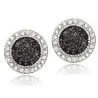 925 Sterling Silver 1/2ct Black & White Diamond Stud ...