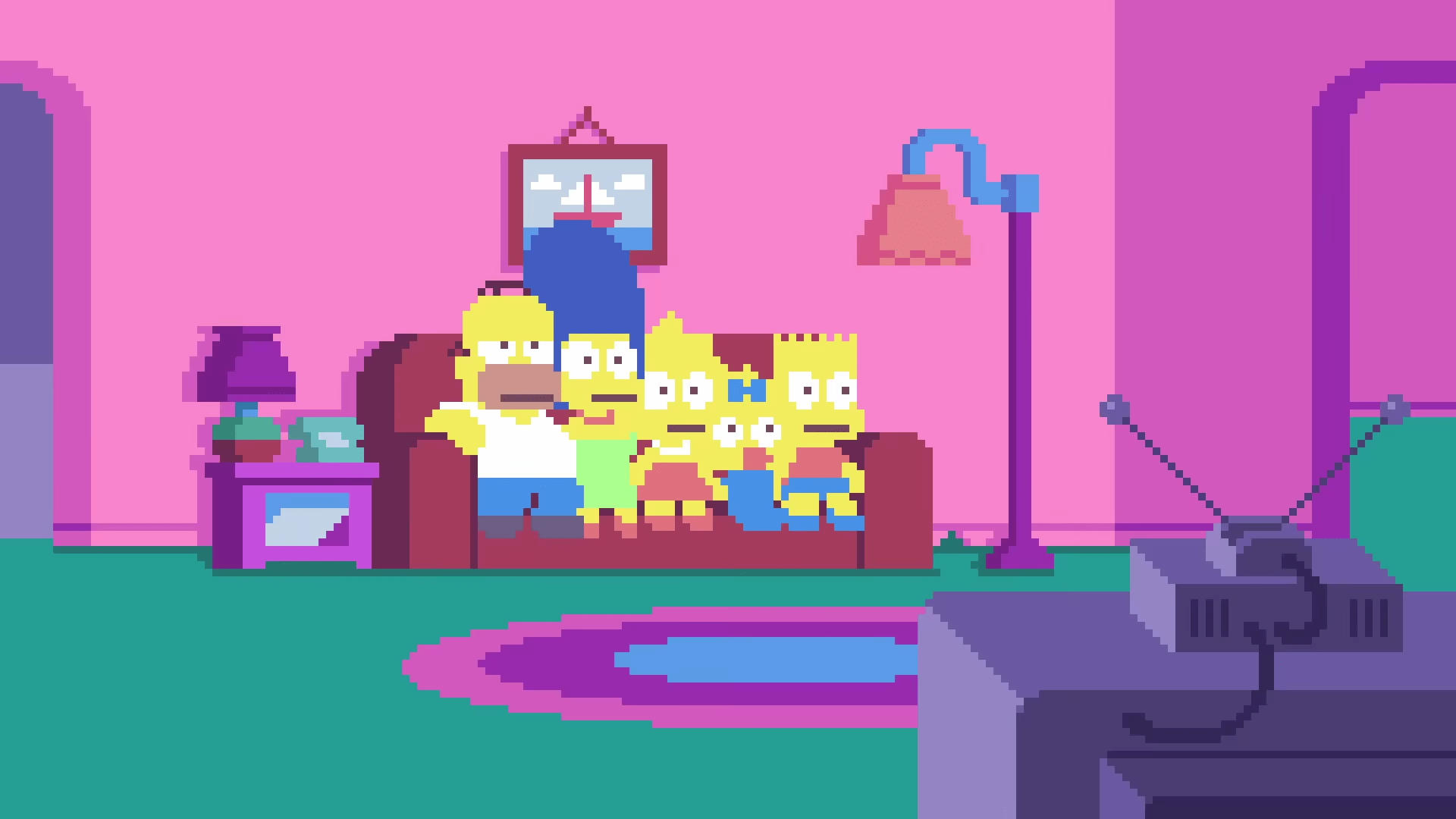 Big Bang Couch Gag Simpsons Pixel Couch Gag Wikisimpsons The Simpsons Wiki