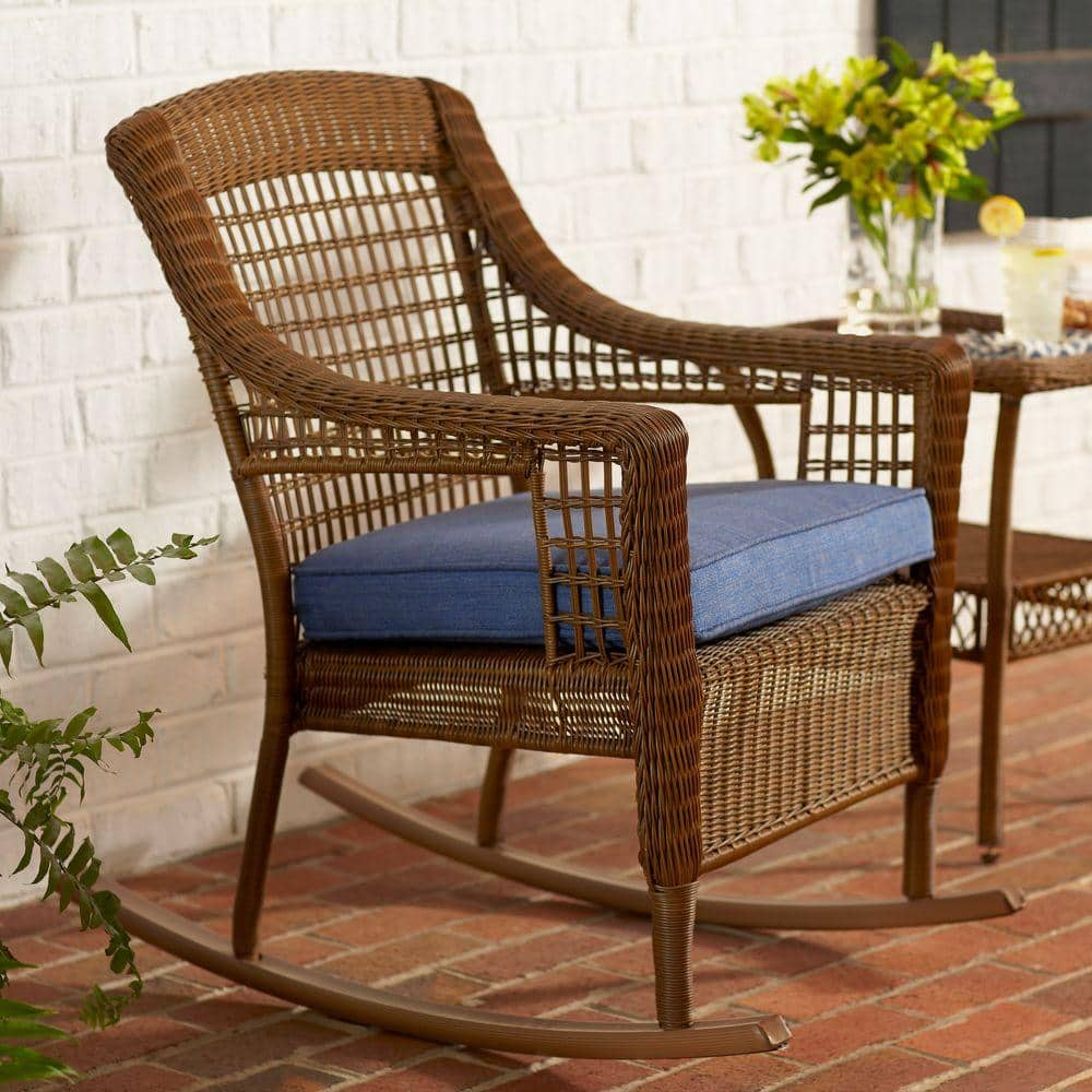 Patio Rocker Chairs Hampton Bay Spring Haven Brown All Weather Wicker Outdoor Patio Rocking Chair With Sky Blue Cushion