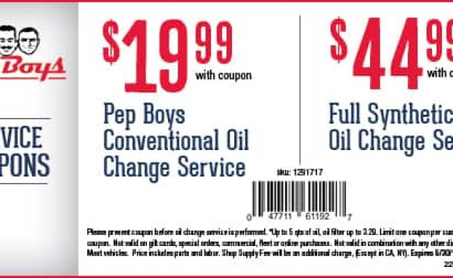Pep Boys Oil Change 19 99 Conventional Or 45 Full