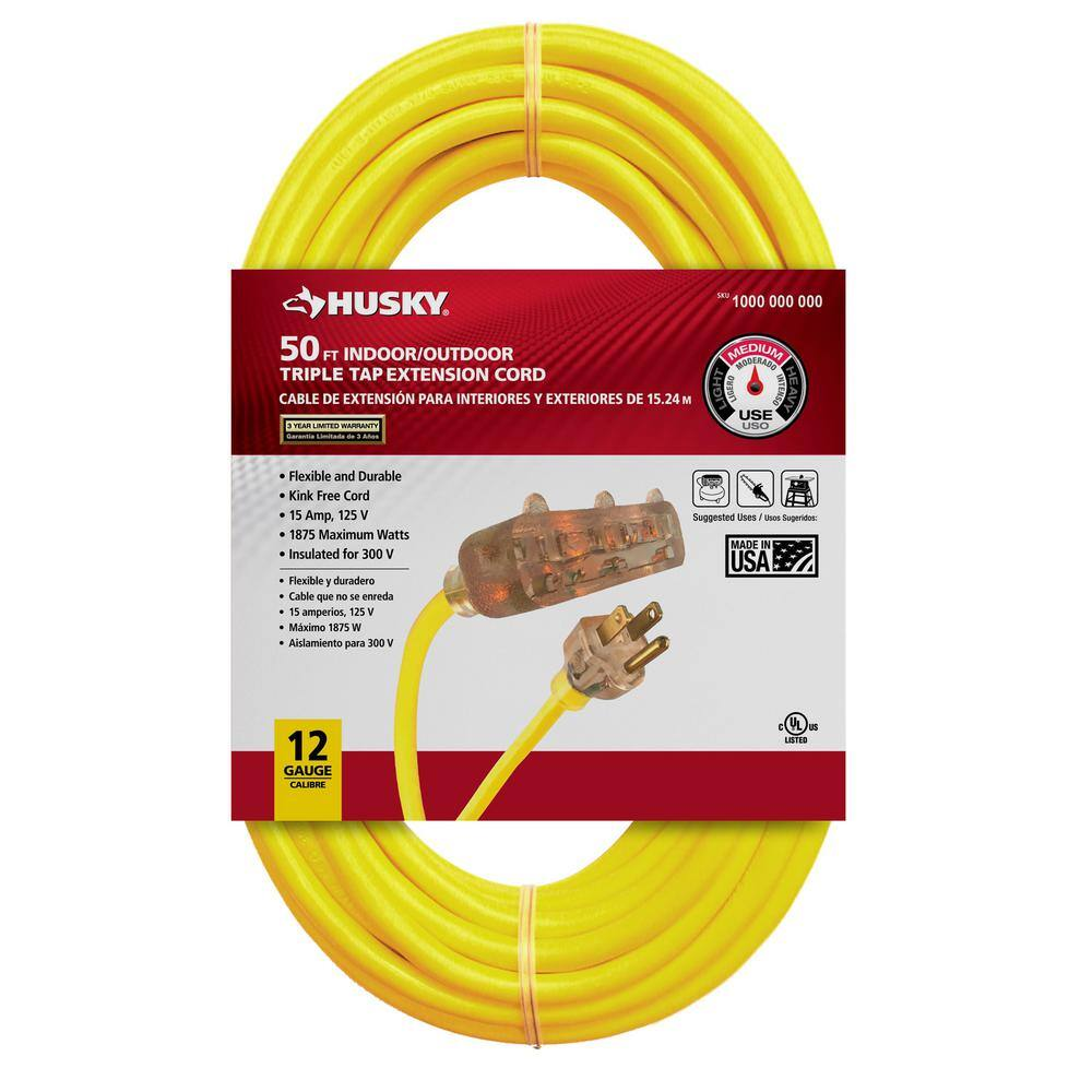 Husky Store 50 Husky 12 3 Lighted Triple Tap Extension Cord Slickdeals