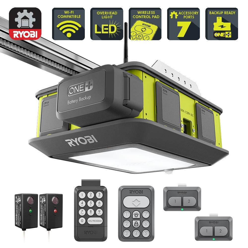 Ryobi Garage Door Fan Ryobi Ultra Quiet 2 Hp Belt Drive Garage Door Opener W Battery