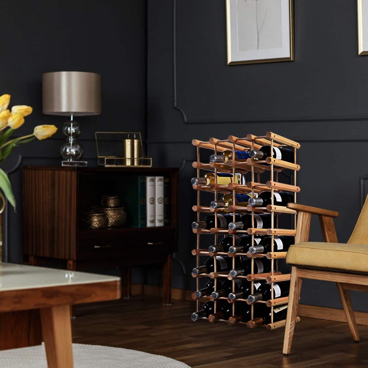 Wooden Bottle Rack Costway Wooden Bottle Rack Wine Holder For 40 Bottles 30 95 Fs