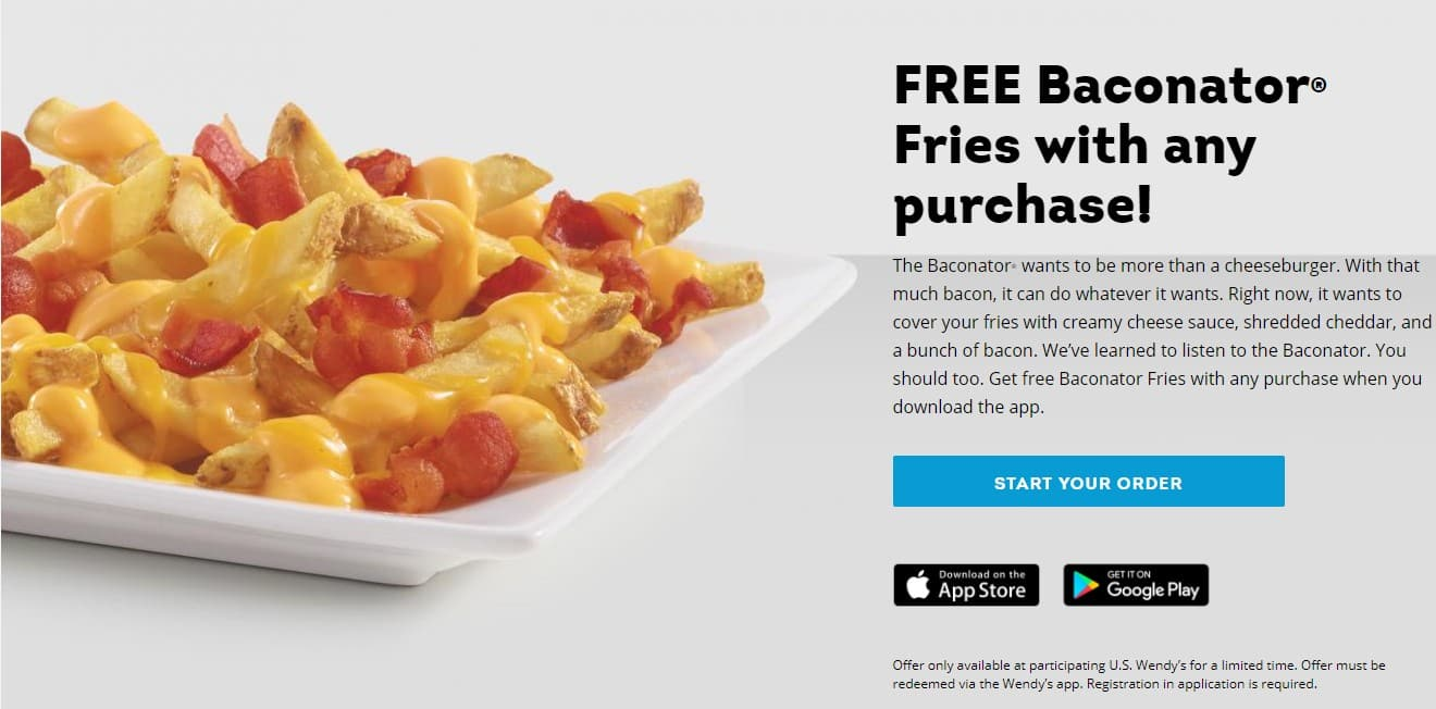 Note Card Cafe Coupon Wendy S App Coupon Purchase Any Item Get Baconator Fries