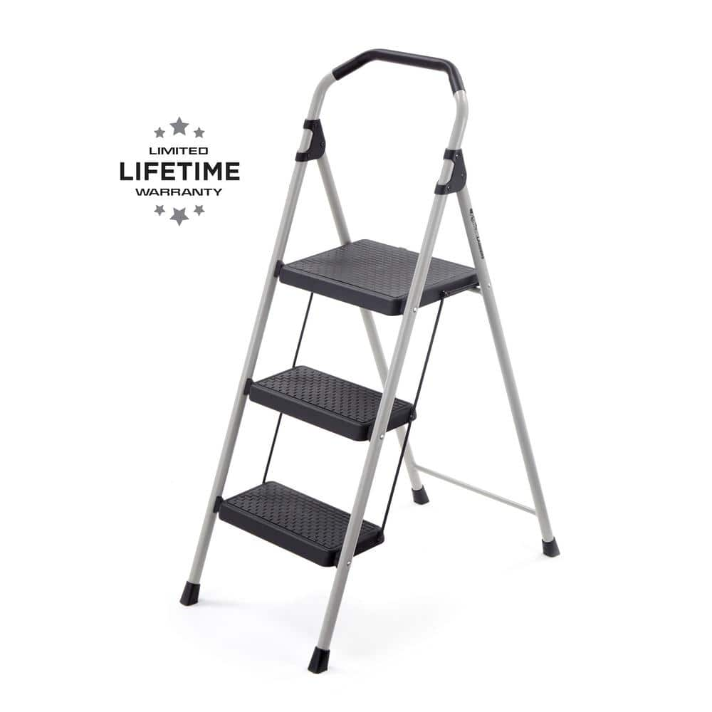 Metal Step Stool Gorilla Ladders 3 Step Lightweight Steel Step Stool Ladder With 225 Lbs Load Capacity Type Ii Duty Rating
