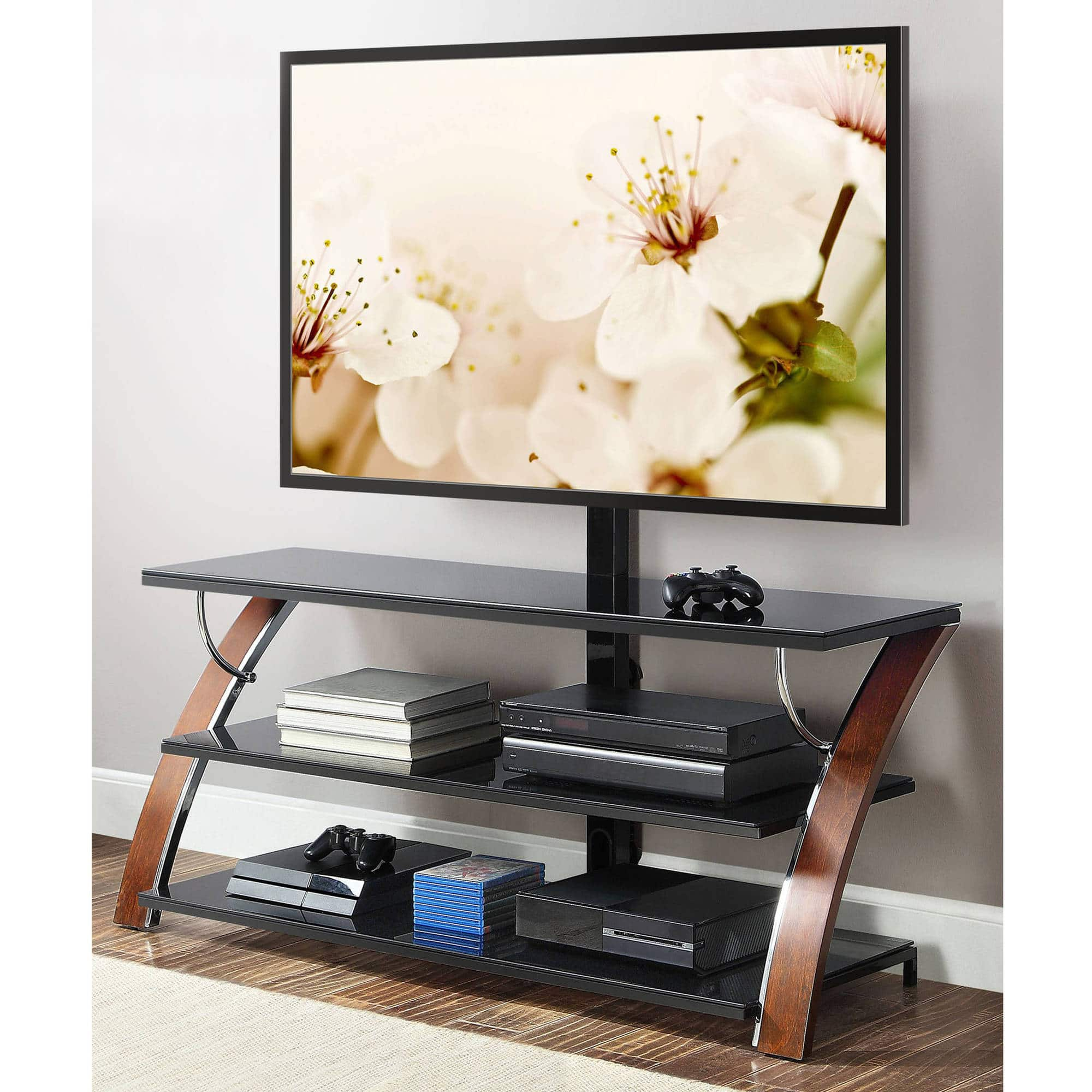Flat Screen Tv Stands Whalen Tv Stands Payton Brown Cherry 3 In 1 Flat Panel 129 00