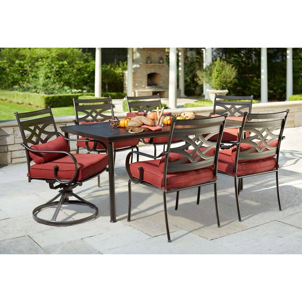 7 Piece Patio Set Hampton Bay Middletown 7 Piece Patio Dining Set W Chili Cushions