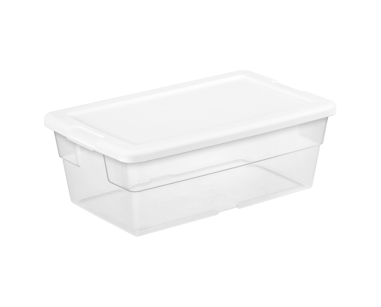6 Quart Sterilite Clear Storage Tote W White Lid