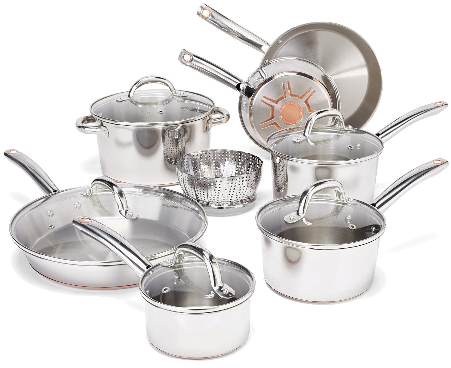 13 Piece T Fal Ultimate Stainless Steel Copper Bottom