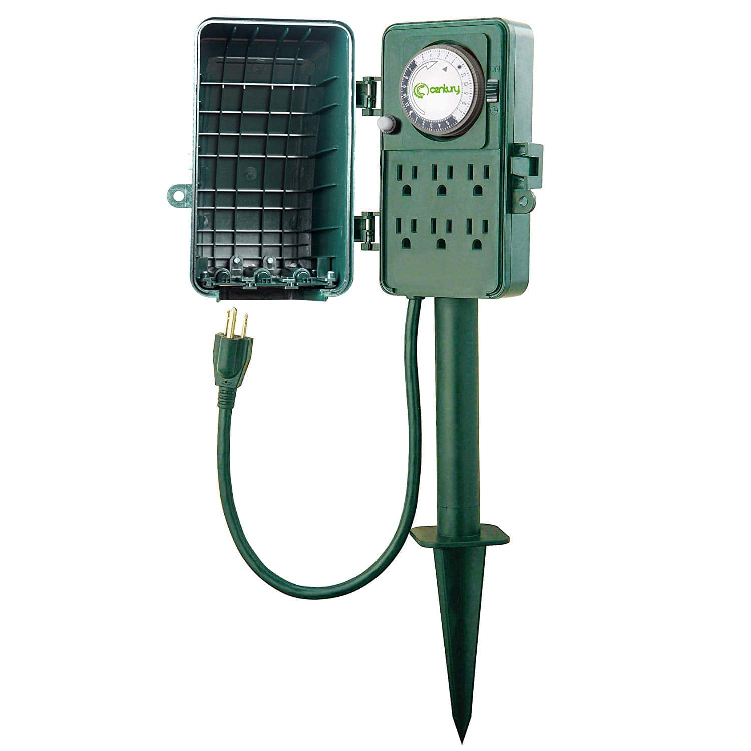 24 Outlet Century 24 Hour Mechanical Outdoor 6 Outlet Timer W Stake