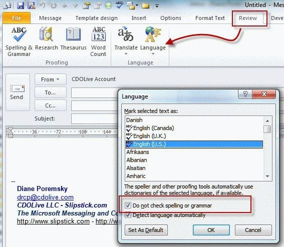 Outlook Signatures and Spell Check - spanish speller
